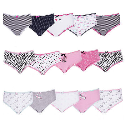 Multi 5 Pack Girls Briefs Knickers Underwear 100% Cotton Unicorn Stripes Leopard