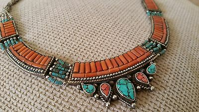 Intricate, orange and green Moroccan Berber necklace