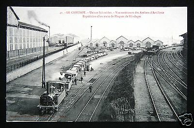 CPA  71- Animée Le CREUSOT Usines SCHNEIDER 41-Expédition d'un Train