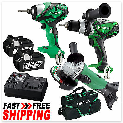 Hitachi 18V Li-Ion Cordless Hammer Drill Impact Driver Angel Grinder Kit