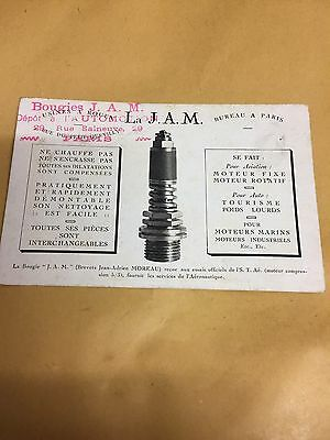 early postcard for J.A.M. spark plugs
