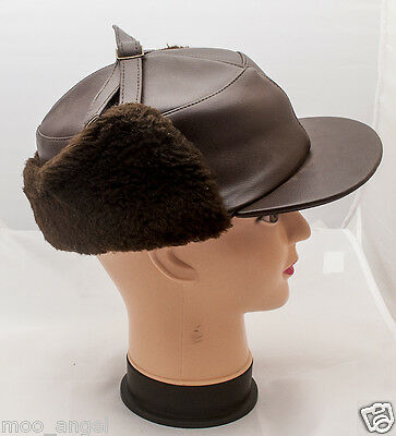 Vintage brown faux leather pvc and fur ear flap quilted trapper hat small 52 cm