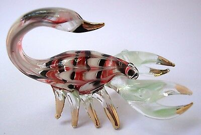 SCORPION Color Hand Blown Glass Figurine Art With Gold Trim
