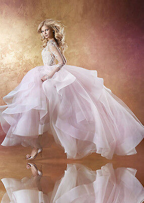 A-line Lace Wedding Dresses Long Sleeve Backless Bridal Gown 4 6 8 10 12 14 16+