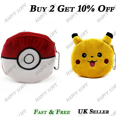 Pokemon Kids Boys Girls Unisex Coin Purse Wallet Pokeball Pikachu Birthday Gift
