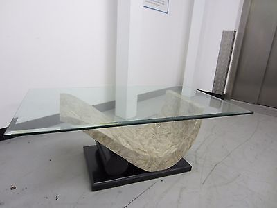 Modern Glass And Faux Marble Coffee Table