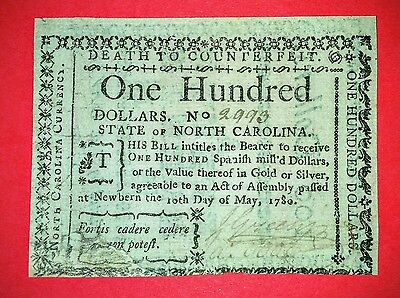 1780 State of North Carolina $100 Note