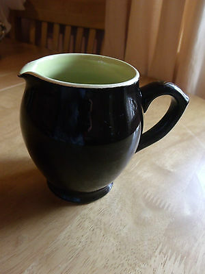 rare VINTAGE LANGLEY POTTERY  1 PINT JUG WINDMILL MARK. black and green