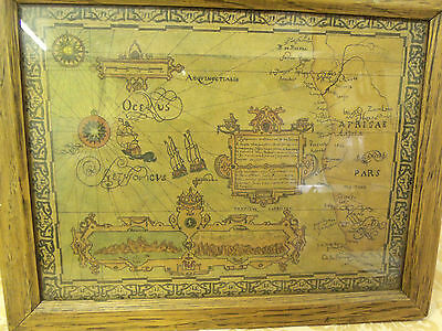 old decorative wooden framed map. Africa