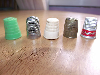 Vintage ADVERTISING SEWING THIMBLES, John West and Hudsons soap plus 3 others.