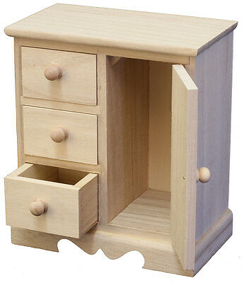 Craft Wood/Craftwood 3 Drawer/1 Door Cabinet -for Decorating/Hobbies/Painting!!!