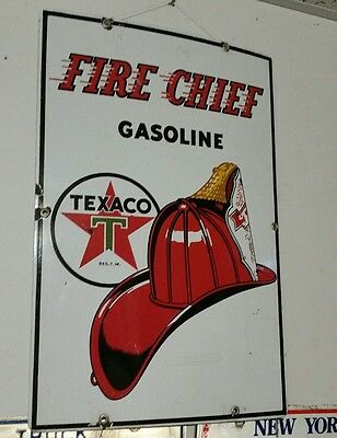 1957 Texaco Porcelain Gasoline Pump Plate Sign Fire Chief. Canadian P&M ORILLIA