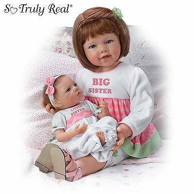"Ashton Drake - ""A Sister's Love"" Poseable Baby Doll Set by Waltraud Hanl"