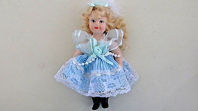 """Tiny Bisque Porcelain Doll - 5""""- Jointed Arms & Legs - Blonde Hair - Blue Dress"""