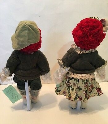 "⭐ Seymour Mann Raggedy Ann & Andy Our American Sweethearts Porcelain Dolls 14"" ⭐"