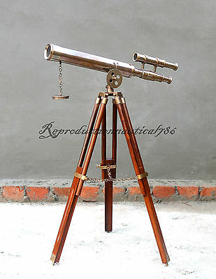 Nautical Antique Brass Telescope With Wooden Stand Maritime Vintage Marine Scope