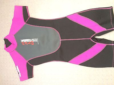 "Girl's Nala Waveware Shortie Wetsuit Size 32"" Chest Cerise Pink & Black"