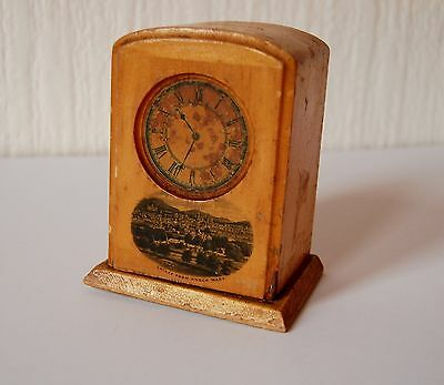 Antique Vintage Mauchline Ware 'Crieff From Knock Mary' Clock Money Box