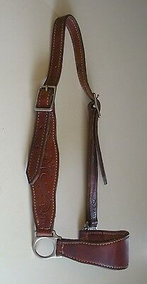 Nice Used Leather Cow Halter With Tooling Dark Oil Good Condition