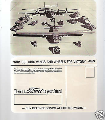 Original Wwii Ford Motor Co Military Product Postcard