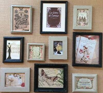 Vintage French Themed Shabby Chic Hand Painted Picture Frames