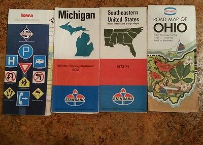 Lot of 4 Vintage Oil Company Road Maps