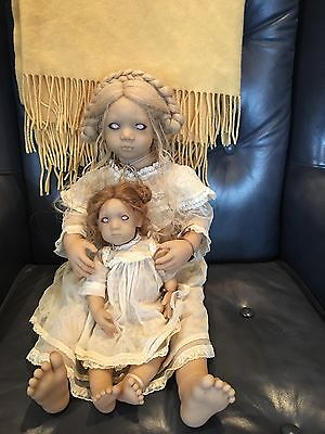"""Annette Himstedt Freeke and Bibi 1997 Club Dolls 24"""" & 12"""" Excellent condition"""