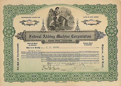 Federal Adding Machine Corporation > 1919 New Jersey old stock certificate share