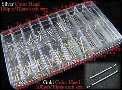Set 200pcs 10mm-28mm Leather Watch Band Strap Pins Link Spring Bar Repair Tool
