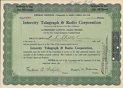 Intercity Telegraph and Radio Corp   1929 Delaware old stock certificate share
