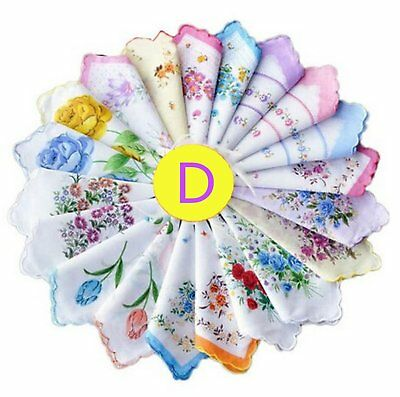 Dillian Womens Vintage Floral Wedding Party Cotton Handkerchiefs,10pcs