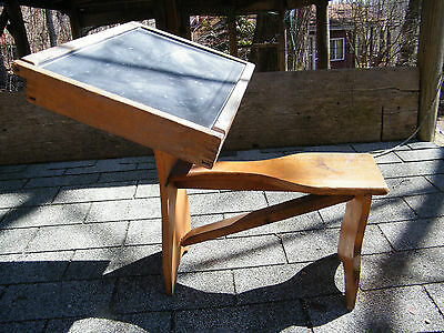 Vintage Childs Wood School Desk With Blackboard Lift Top & Attached Wooden Seat