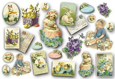 Decoupage Paper Vintage Look Easter Bunny Egg Eggs Rabbit Violets