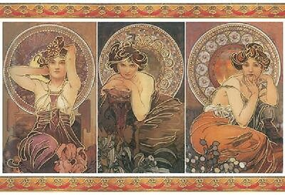 Decoupage Paper Art Nouveau Pre Raphelite Women Gold Foil Decoration Mucha