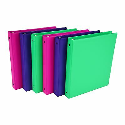 Samsill Fashion Color 3 Ring Storage Binder, 1 Inch Round Ring, 6 Pack