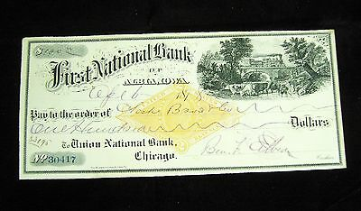 Vintage USA Cheque - 1878 First National Bank of Albia Iowa