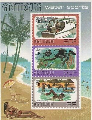 ANTIGUA WATER SPORTS 1976 MINI SHEET OF MINT STAMPS FREE p&p