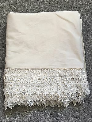 Vintage Cream Italian Heavy Cotton Sheet With Deep Lace Turn back