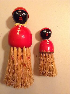 Vintage Set of 2 Wooden Black Americana Clothes Brush Red