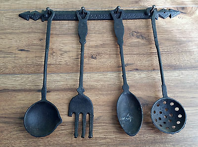 Rustic Kitchen Cast Iron Wall Hanging Decor Heavy Spoon Fork Ladle Strainer