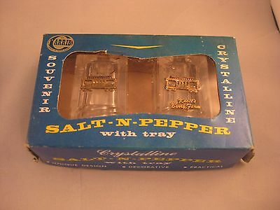 crystalline salt-n-pepper  container with tray very vintage