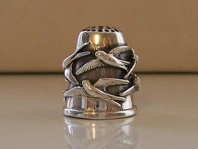 Lovely Silver Thimble (Hallmarked) Swallow Decoration