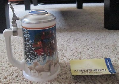 2005 Budweiser Holiday Lidded Stein Numbered 200 With Coa
