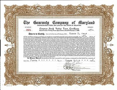 The Guaranty Company of Maryland > 1926 Delaware old stock certificate share
