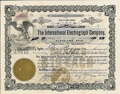 The International Electrograph Co > 1901 Cleveland, Ohio old stock certificate