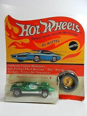 1969 Hot Wheels Redline Mantis Green In Blister Package With Button Unpunched