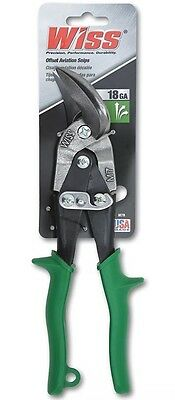 Wiss Offset Aviation Tin Snips M7R 18GA Green Grips Cuts Straight to Right
