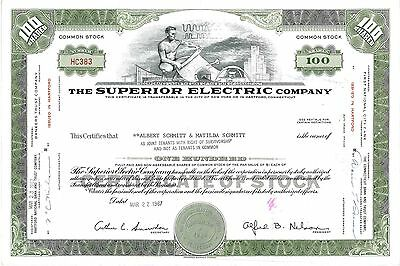 The Superior Electric Company   1967 Connecticut old stock certificate share