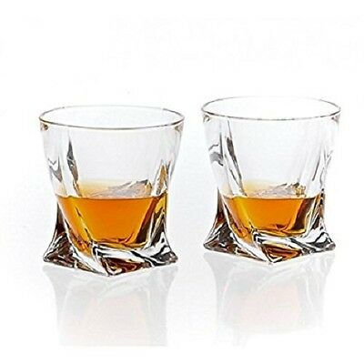 Set of 2 Elegant Crystal Glasses Tumblers 340 ml Whisky Spirits | Quadro