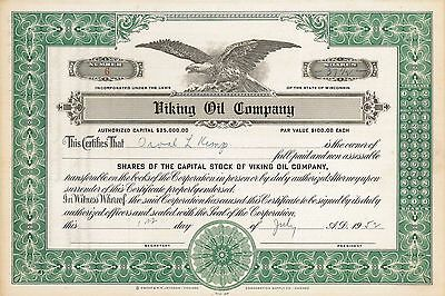 Viking Oil Company   1952 Wisconsin old stock certificate share